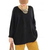 Pull tunique grande taille plumes noir PROMESSE Pull femme