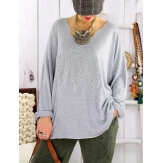 Pull tunique grande taille plumes PROMESSE Gris Pull femme