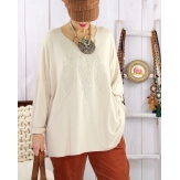Pull tunique grande taille plumes beige PROMESSE Pull femme