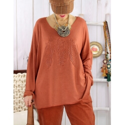 Pull tunique grande taille plumes rouille PROMESSE Pull femme