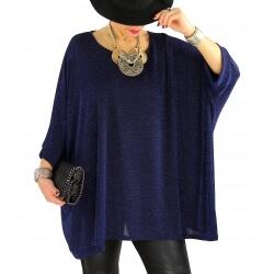 Tunique grande taille chic soirée lurex LATINA Bleu