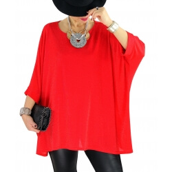 Tunique grande taille chic soirée lurex LATINA Rouge