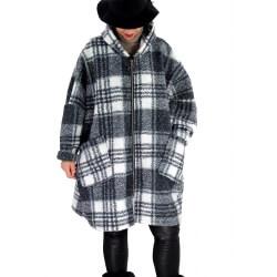 Manteau femme grande taille capuche bouclette MEGEVE Noir