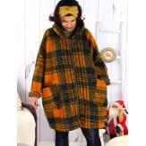 Manteau femme grande taille capuche bouclette MEGEVE Rouille-Manteau femme grande taille-CHARLESELIE94