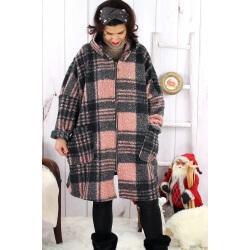 Manteau femme grande taille capuche bouclette MEGEVE Rose Manteau femme grande taille