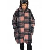Manteau femme grande taille capuche bouclette MEGEVE Rose-Manteau femme grande taille-CHARLESELIE94