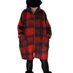 Manteau femme grande taille capuche bouclette MEGEVE Rouge