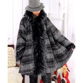 Manteau femme grande taille capuche laine ARETHA Gris
