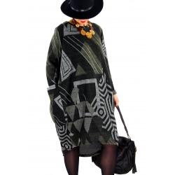 Robe femme grande taille hiver boule LILOU Kaki