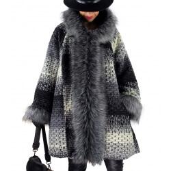 Manteau femme grande taille capuche laine MICHELE