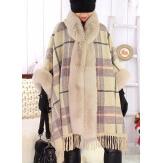 Cape manteau femme grande taille fourrure CHILI Beige
