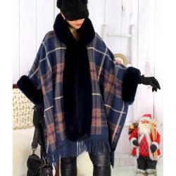 Cape manteau grande taille fausse fourrure CHILI Bleu Cape femme