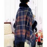 Cape manteau grande taille fausse fourrure CHILI Bleu