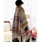 Cape manteau grande taille fausse fourrure CHILI Taupe