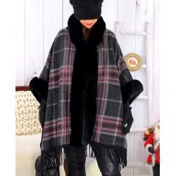 Cape manteau grande taille fausse fourrure CHILI Noir Cape femme