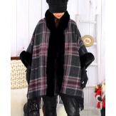 Cape manteau grande taille fausse fourrure CHILI Noir