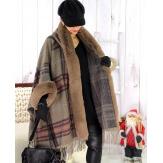 Cape manteau grande taille fausse fourrure CHILI Taupe Cape femme