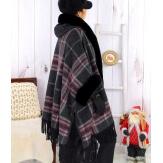 Cape manteau grande taille fausse fourrure CHILI Noir-Cape femme-CHARLESELIE94