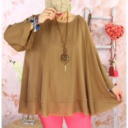Tunique femme grande taille + collier OPHELIA camel
