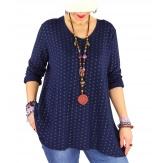 Tunique bohème grande taille losanges or BRUNO Bleu marine-Tunique femme grande taille-CHARLESELIE94