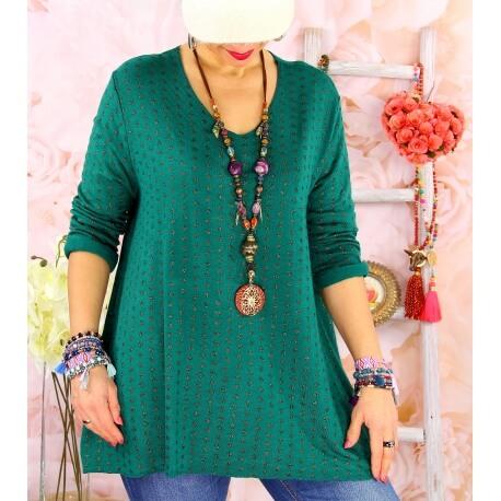 Tunique bohème grande taille losanges or BRUNO Vert-Tunique femme grande taille-CHARLESELIE94