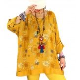 Tunique grande taille coton satin CARLITA Jaune-Tunique femme grande taille-CHARLESELIE94