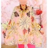Tunique poncho grande taille mousseline SAISON Rose-Tunique femme grande taille-CHARLESELIE94