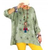 Tunique grande taille coton satin CARLITA Kaki Tunique femme grande taille