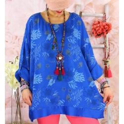 Tunique grande taille coton satin CARLITA Bleu royal-Tunique femme grande taille-CHARLESELIE94