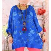 Tunique grande taille coton satin CARLITA Bleu royal