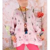 Tunique grande taille coton satin CARLITA Rose-Tunique femme grande taille-CHARLESELIE94