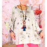 Tunique grande taille coton satin CARLITA Beige-Tunique femme grande taille-CHARLESELIE94