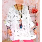 Tunique grande taille coton satin CARLITA Blanc-Tunique femme grande taille-CHARLESELIE94