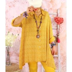 Chemise longue femme grande taille coton KIKOU Jaune-Chemise femme grande taille-CHARLESELIE94