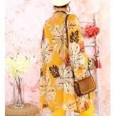 Tunique poncho grande taille mousseline SAISON Jaune-Tunique femme grande taille-CHARLESELIE94