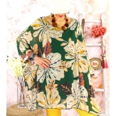 Tunique poncho grande taille mousseline SAISON Vert-Tunique femme grande taille-CHARLESELIE94