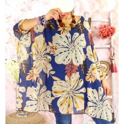 Tunique poncho grande taille mousseline SAISON Bleu