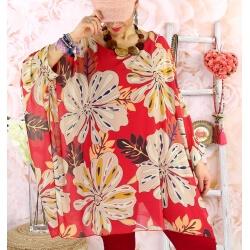 Tunique poncho grande taille mousseline SAISON Rouge-Tunique femme grande taille-CHARLESELIE94