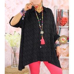 Chemise longue femme grande taille coton KIKOU Noir-Chemise femme grande taille-CHARLESELIE94