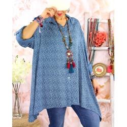 Chemise longue femme grande taille coton KIKOU Bleu jean-Chemise femme grande taille-CHARLESELIE94