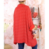Chemise longue femme grande taille coton KIKOU Rouge-Chemise femme grande taille-CHARLESELIE94