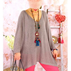 Pull tunique grande taille léger lurex TOSCA Taupe