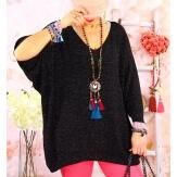 Pull tunique grande taille léger lurex TOSCA Noir-Pull femme grande taille-CHARLESELIE94