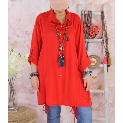 Chemise longue femme grande taille coton MELUA Rouge