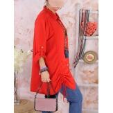 Chemise longue femme grande taille coton MELUA Rouge-Chemise femme grande taille-CHARLESELIE94