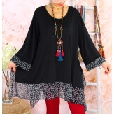 Tunique longue grande taille DIAMANT Fleurs Noire-Tunique femme grande taille-CHARLESELIE94