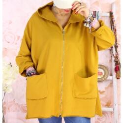 Veste sweat capuche jaune BELFAST Veste femme grande taille