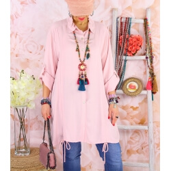 Chemise longue femme grande taille coton MELUA Rose
