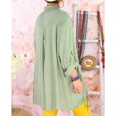 Chemise longue femme grande taille coton MELUA Kaki Chemise femme grande taille