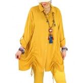 Chemise longue femme grande taille coton MELUA Jaune-Chemise femme grande taille-CHARLESELIE94
